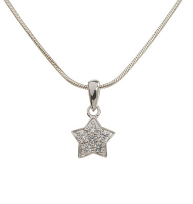 "Sterling Silver and CZ Diddy 5-Point Star Pendant with 16 - 18"" Silver Chain"