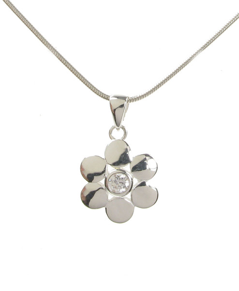 "Sterling Silver and CZ Round Petals Flower Pendant with 16 - 18"" Silver Chain"