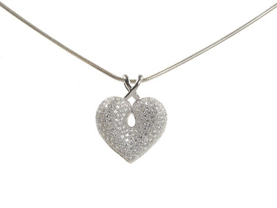 "CZ and Sterling Silver Looped Bail Heart Pendant with 16 - 18"" Silver Chain"