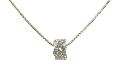 "Sterling Silver and CZ Tiny Woven Circlet Pendant with 16 - 18"" Silver Chain"