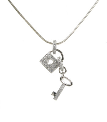 "CZ Padlock and Key Sterling Silver Pendant with 16 - 18"" Silver Chain"