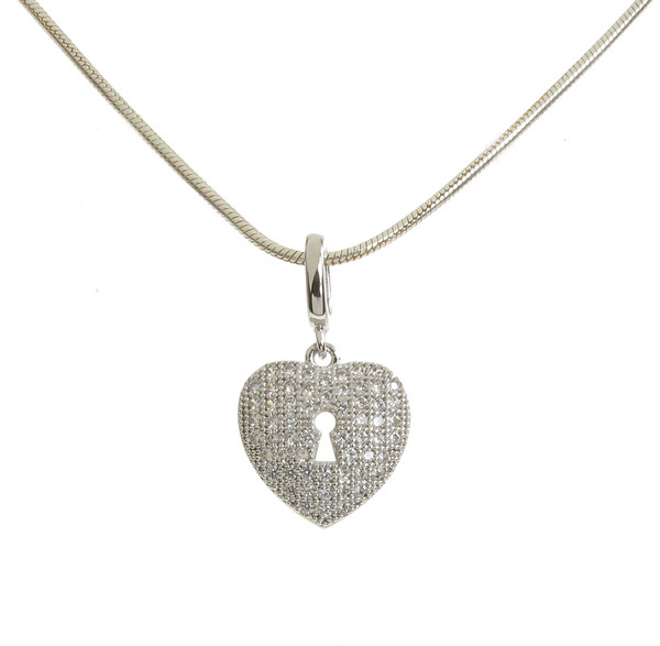 Sterling Silver CZ Set Heart Padlock Pendant without Chain