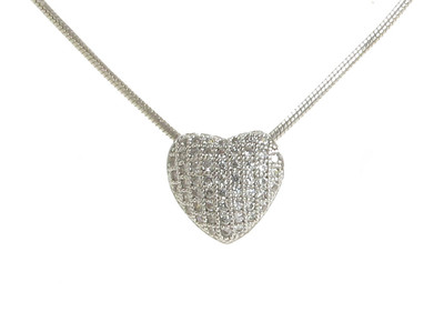CZ Large Slotted Heart Sterling Silver Pendant without Chain