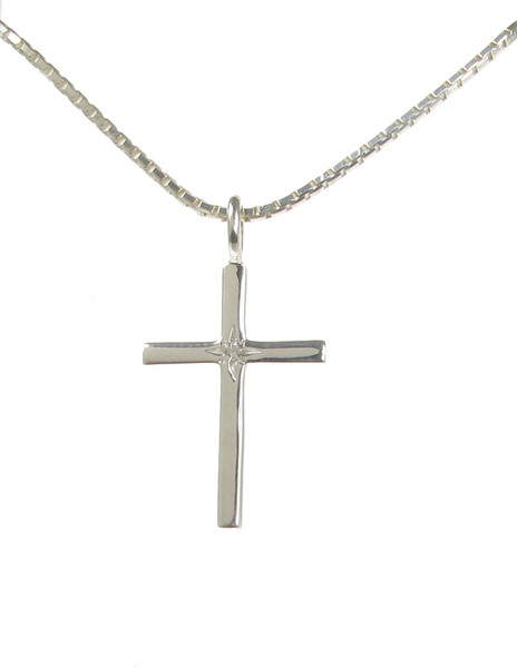"Sterling Silver and CZ Cross Pendant with 16 - 18"" Silver Chain"