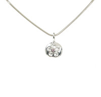 Pretty in Pink Silver Flower Pendant