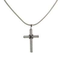 Silver & Cubic Zirconia Crossed Cross Pendant