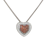 Silver and Red Checkered Heart Pendant
