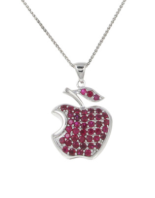 "Sterling silver and red CZ apple pendant with 16 - 18"" Silver Chain"