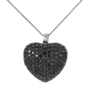 Sterling silver and black CZ heart pendant without Chain