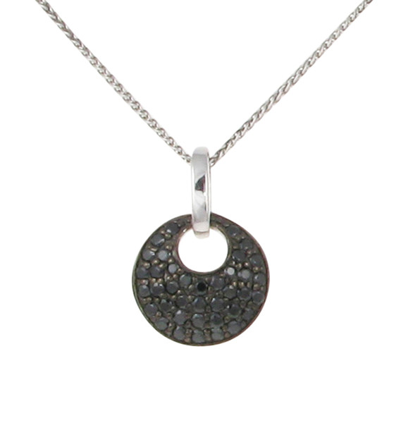 "Sterling Silver and Black CZ Pendant with 16 - 18"" Silver Chain"