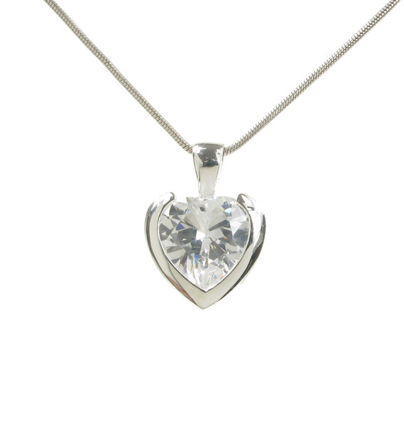 Sterling Silver and Single Clear CZ Heart Pendant without Chain