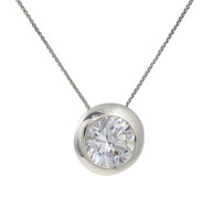 Sterling Silver and Clear CZ Bowl Pendant