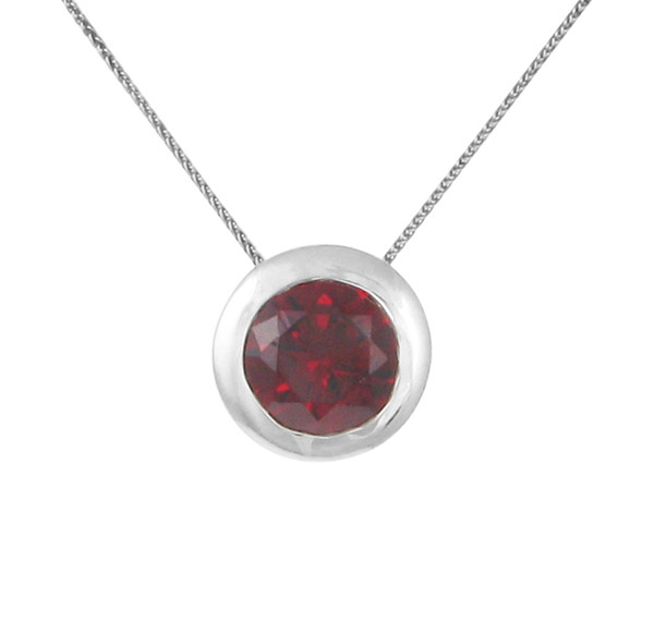 "Sterling Silver and Garnet CZ Bowl Pendant with 16 - 18"" Silver Chain"