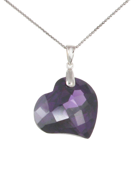 "Amethyst CZ Heart Pendant with 16 - 18"" Silver Chain"
