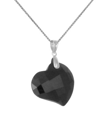 Black CZ Heart Pendant without Chain