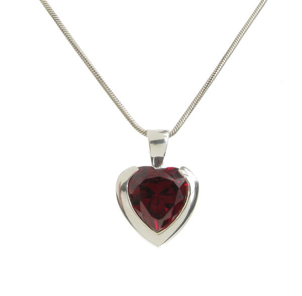 "Sterling Silver and Garnet CZ Heart Pendant with 16 - 18"" Silver Chain"