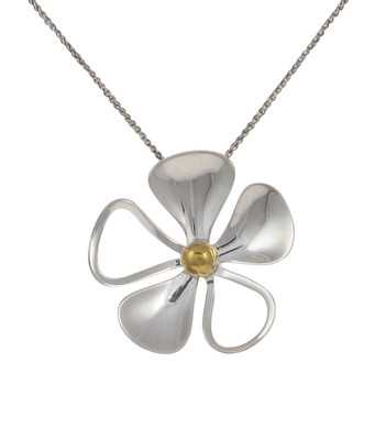 Sterling Silver and Gold Plate Open Petal Daisy Pendant without Chain