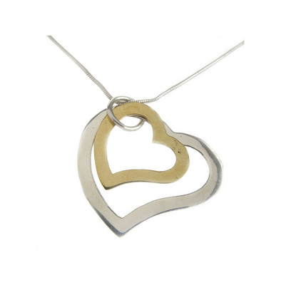 Sterling Silver and Gold Plate Hearts Pendant without Chain