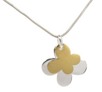 Silver and gold plate double butterfly pendant