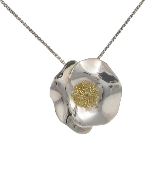 "Silver and gold plate flower pendant with 16 - 18"" Silver Chain"