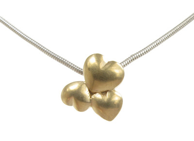 "Tiny silver and gold vermeil heart cluster pendant with 16 - 18"" Silver Chain"