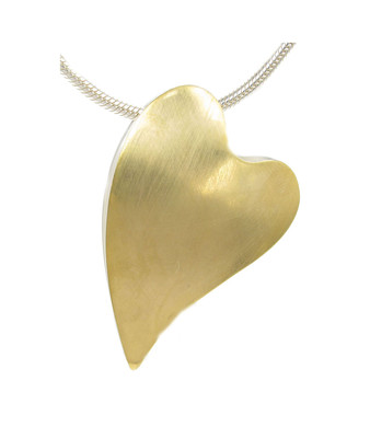 Large offset gold vermeil heart pendant without Chain