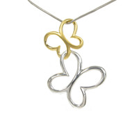 Silver and gold vermeil butterfly pendant