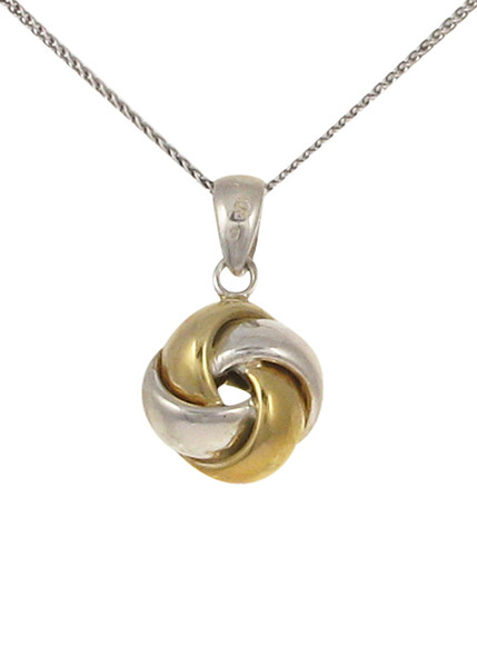 "Silver and gold vermeil knot pendant with 16 - 18"" Silver Chain"