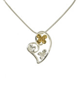 Silver and Gold Hearts and Flowers Pendant