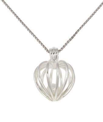 Silver heart birdcage pendant with fresh water pearl. Without Chain