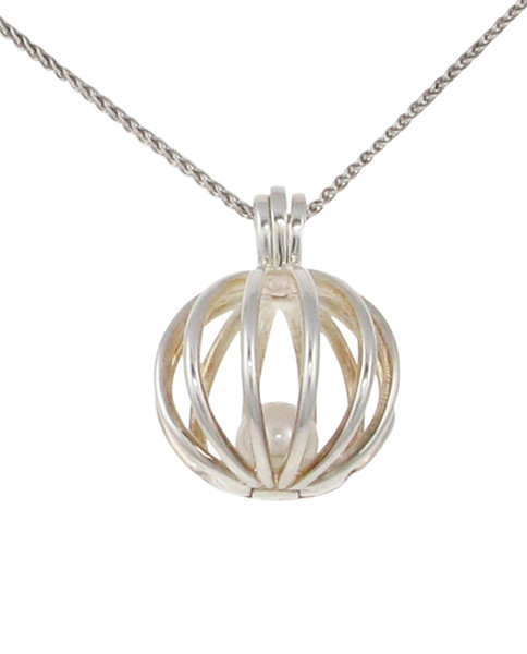 "Round silver birdcage pendant with fresh water pearl.  Comes on a 16 - 18"" Silver Chain"