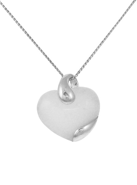 Sterling Silver and White Quartz Flash Heart Pendant without Chain