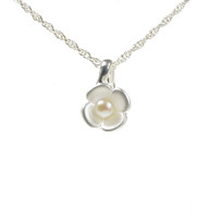 Silver Petals and Pearl Pendant