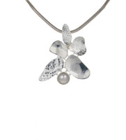 Silver Leaves and Pearl Pendant