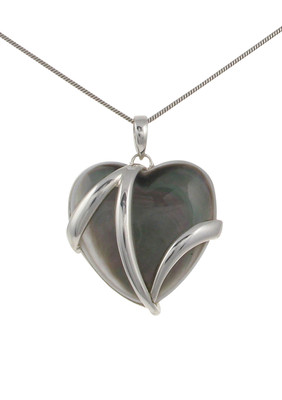 "Sterling Silver and Dark Mother of Pearl Heart Pendant with 16 - 18"" Silver Chain"