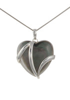 Sterling Silver and Dark Mother of Pearl Heart Pendant