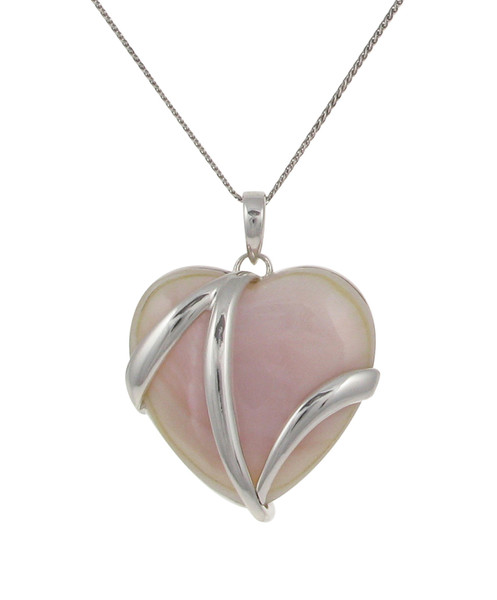 Sterling Silver and Pink Mother of Pearl Heart Pendant without Chain