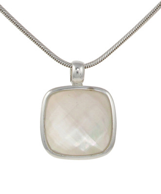 "Sterling Silver, White Mother of Pearl and Crystal Square Pendant with 18 - 20"" Silver Chain"