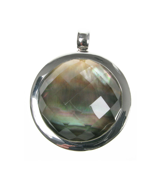 "Sterling Silver, Dark Mother of Pearl and Crystal Large Round Pendant with 18 - 20"" Silver Chai"