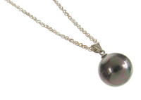 Sterling Silver and Black Shell Pearl Ball Pendant
