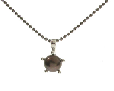 Sterling Silver and Black Pearl Pendant without Chain