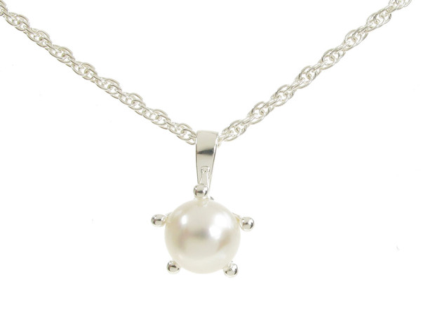 Sterling Silver and White Pearl Pendant without Chain