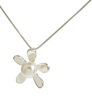 Sterling Silver and White Pearl Daisy Pendant