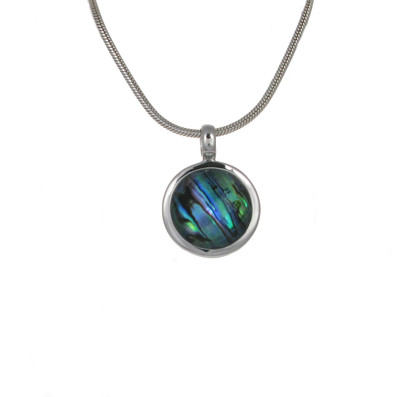 Crystal Topped Abalone Round Pendant without Chain
