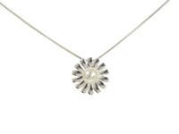 Spiky Petal Pearl and Sterling Silver Daisy Pendant