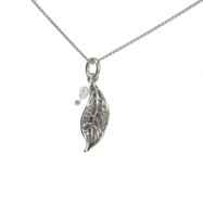 Sterling Silver Tiny Rustic Leaf and Pearl Pendant