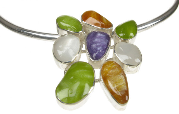 Sterling Silver and Ceramic Multi-coloured Pendant with Silver Collar/Torque