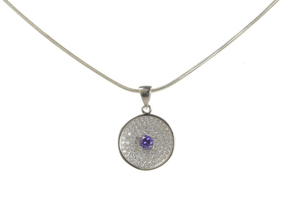 "Amethyst CZ Centre Sterling Silver Disc Pendant with 16 - 18"" Silver Chain"