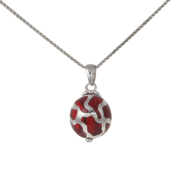 "Sterling Silver and Red Resin Ball Pendant with 16 - 18"" Silver Chain"