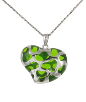 Sterling Silver and Green Resin Heart Pendant
